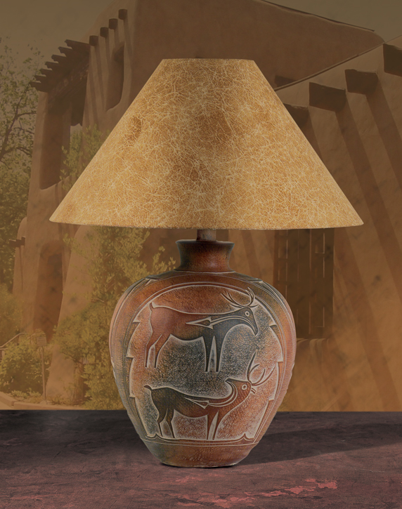 Southwest Lamps Ah 6185 Indian Deer Southwest Style